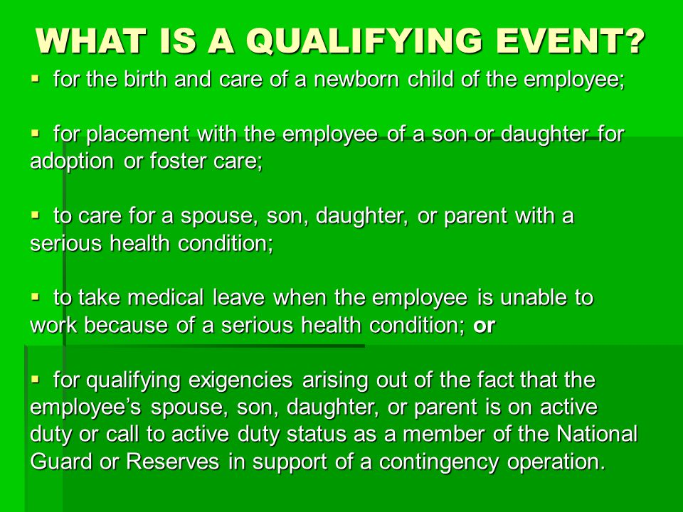 WHAT IS A QUALIFYING EVENT