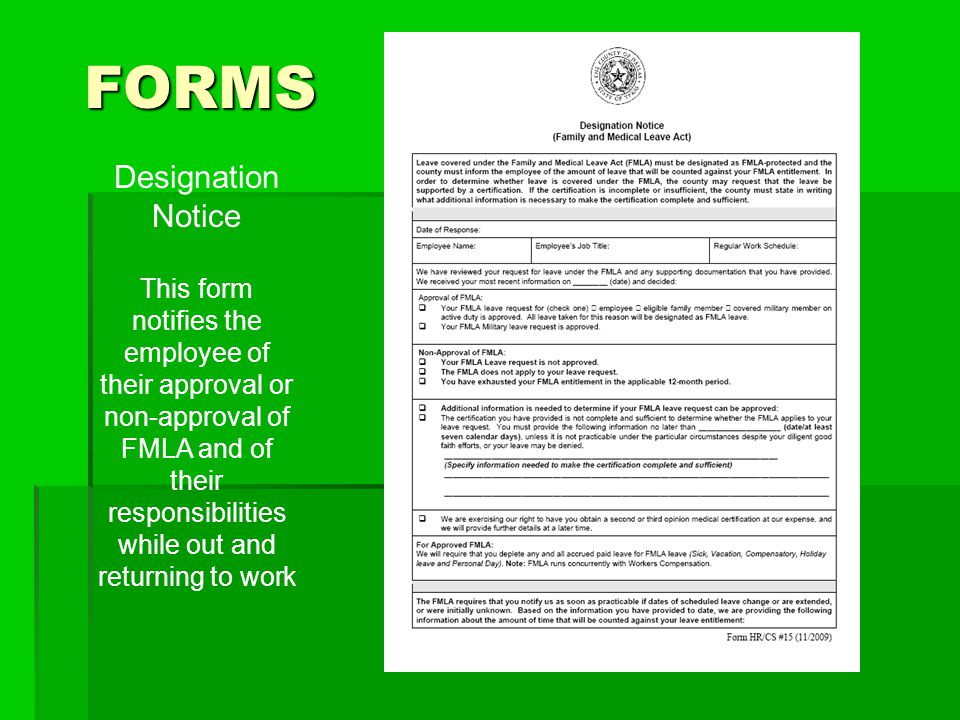 FORMS Designation Notice