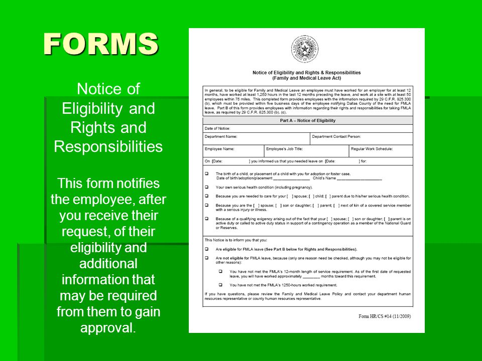 Notice of Eligibility and Rights and Responsibilities