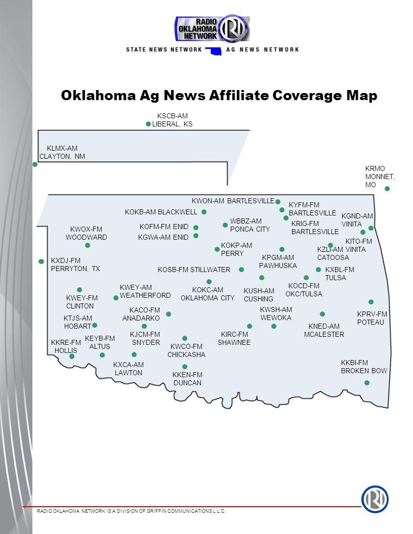 Oklahoma Ag News Affiliate Coverage Map