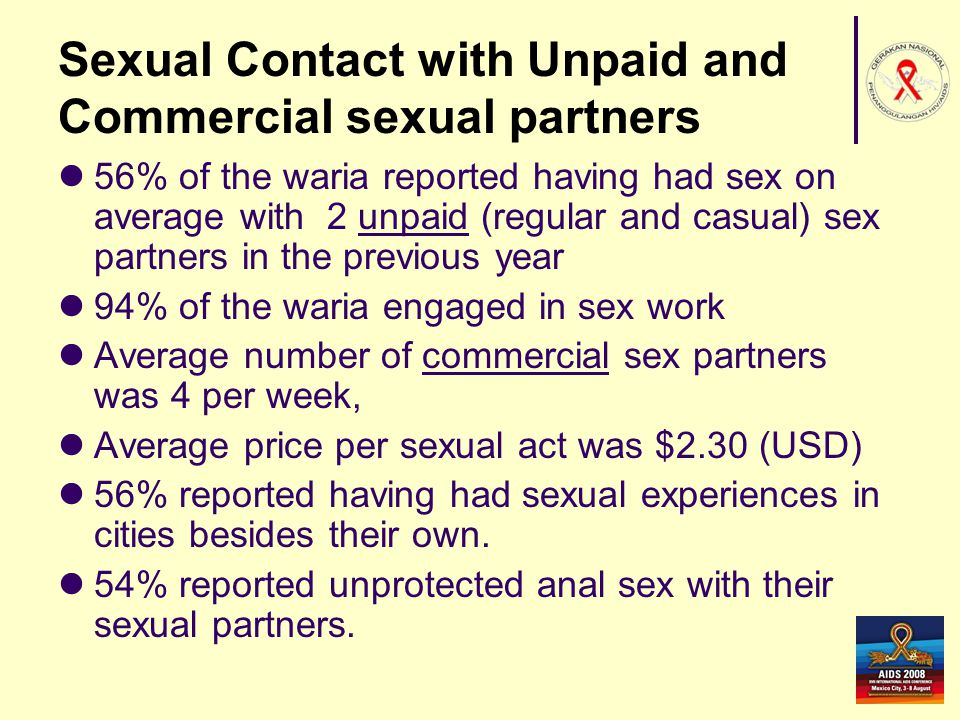 Sexual Contact with Unpaid and Commercial sexual partners