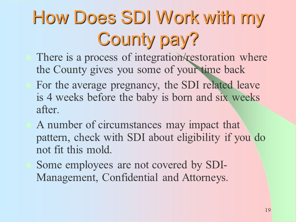 How Does SDI Work with my County pay