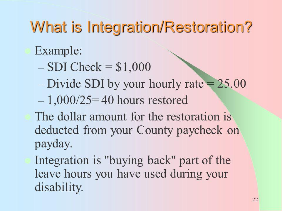 What is Integration/Restoration