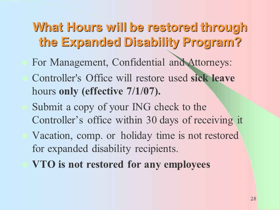 What Hours will be restored through the Expanded Disability Program