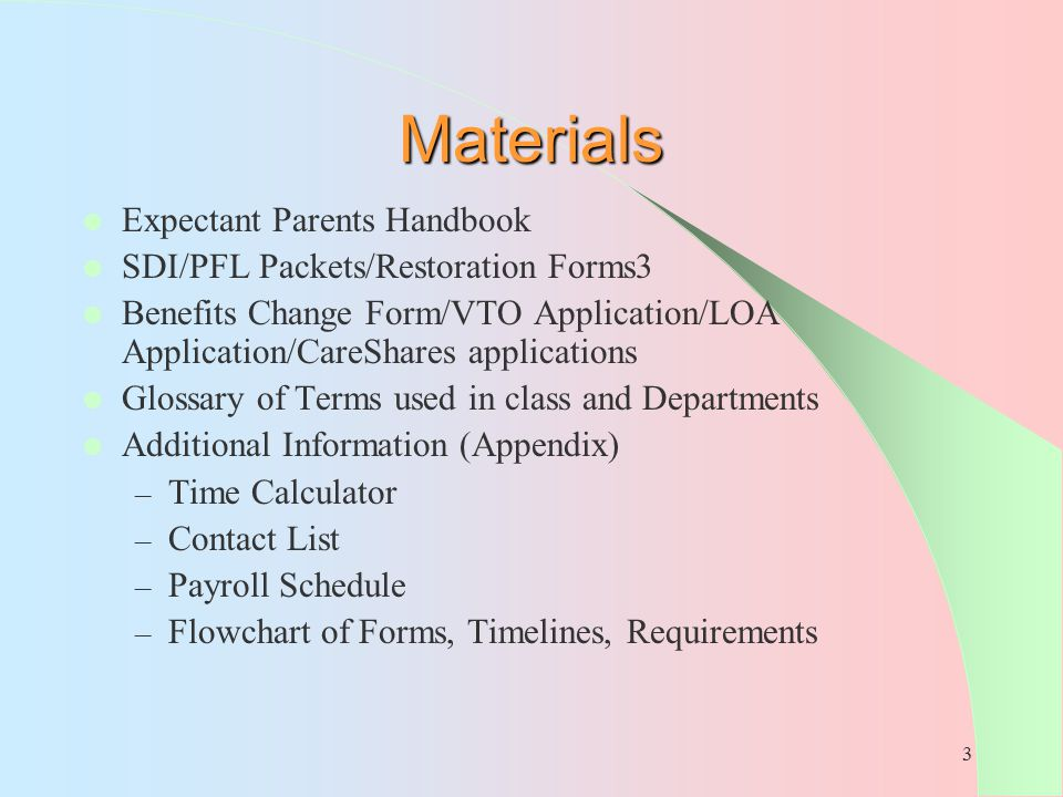 Materials Expectant Parents Handbook