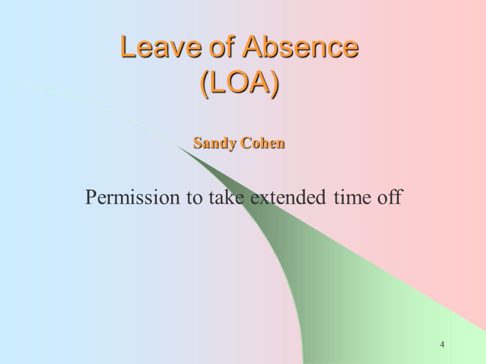 Permission to take extended time off