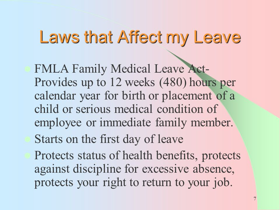 Laws that Affect my Leave