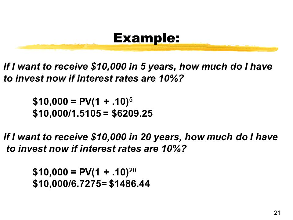 Example: If I want to receive $10,000 in 5 years, how much do I have