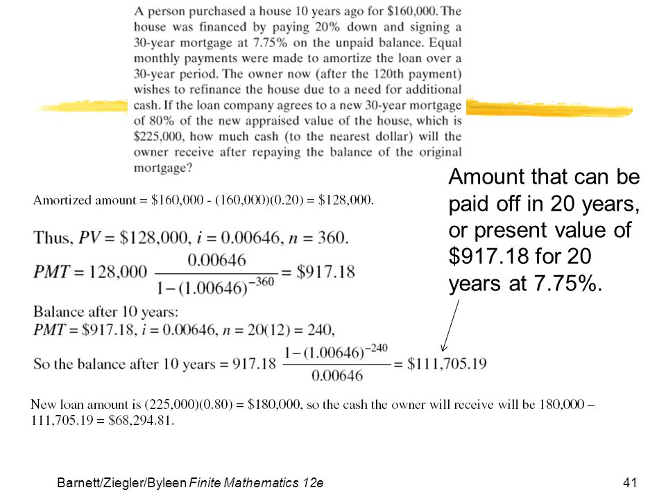Amount that can be paid off in 20 years, or present value of $917