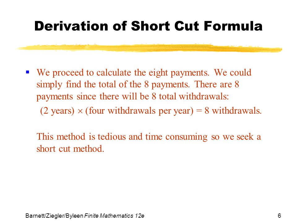 Derivation of Short Cut Formula