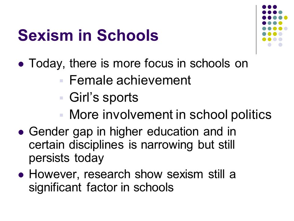 Sexism in Schools Female achievement Girl's sports