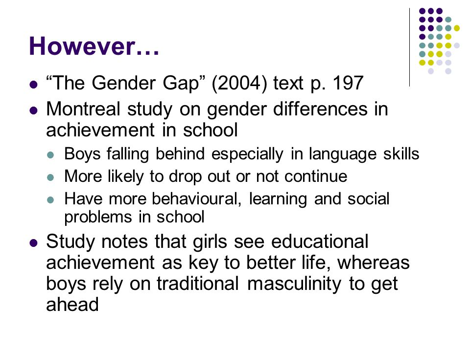 However… The Gender Gap (2004) text p. 197