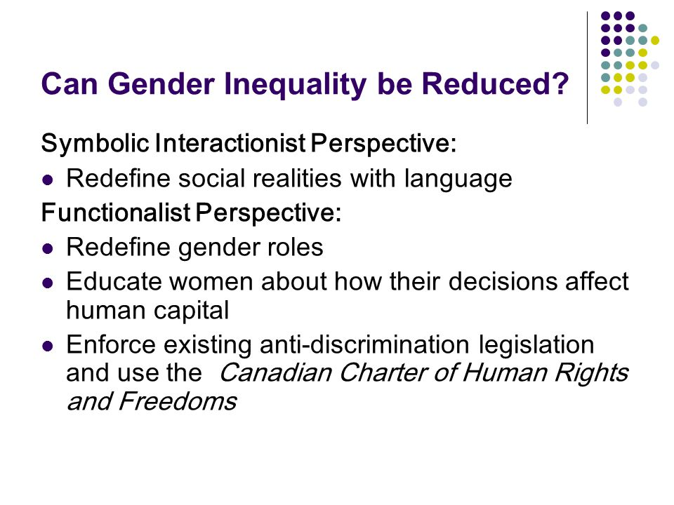 Can Gender Inequality be Reduced