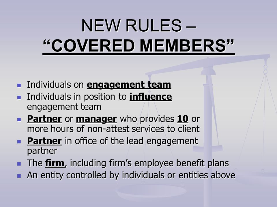 NEW RULES – COVERED MEMBERS