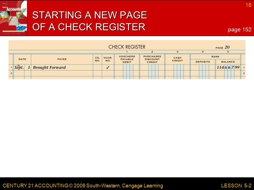 STARTING A NEW PAGE OF A CHECK REGISTER