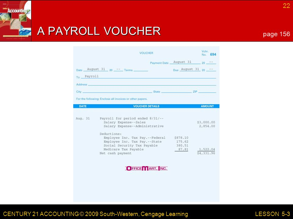 LESSON 5-1 4/13/2017 A PAYROLL VOUCHER page 156 LESSON 5-3 RED