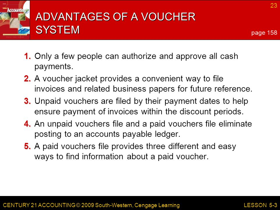 ADVANTAGES OF A VOUCHER SYSTEM