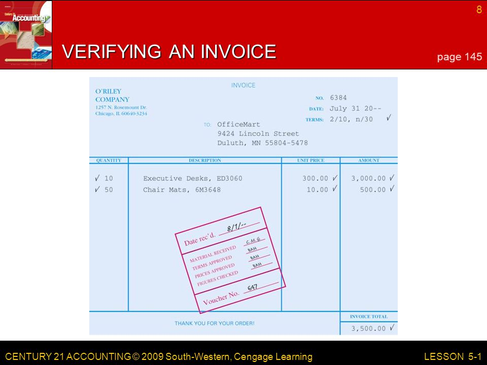 LESSON 5-1 4/13/2017 VERIFYING AN INVOICE page 145 LESSON 5-1 RED