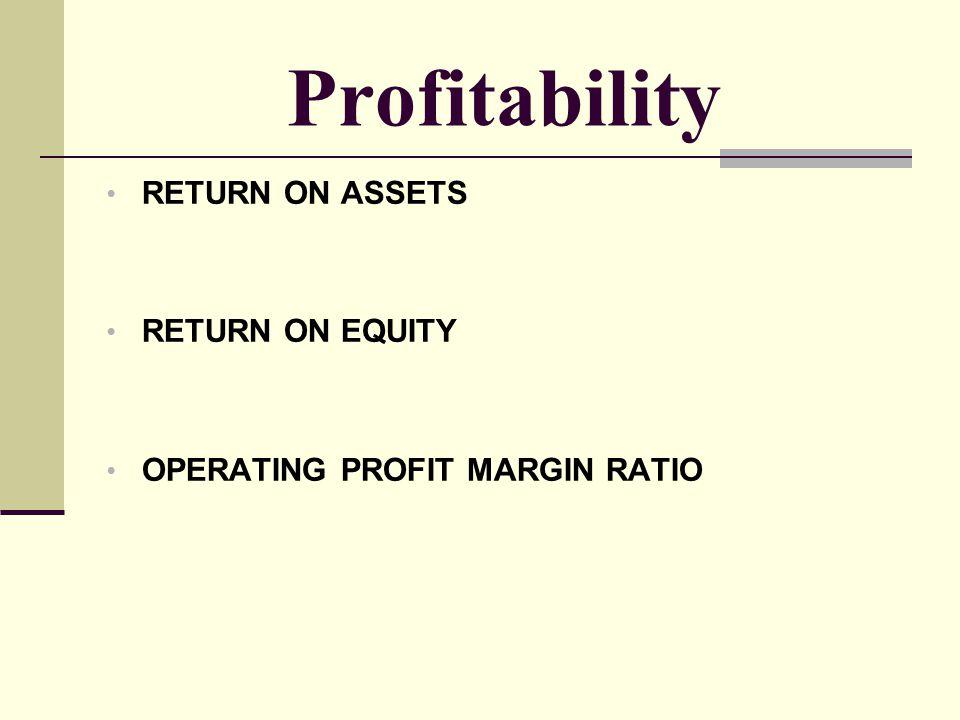 Profitability RETURN ON ASSETS RETURN ON EQUITY