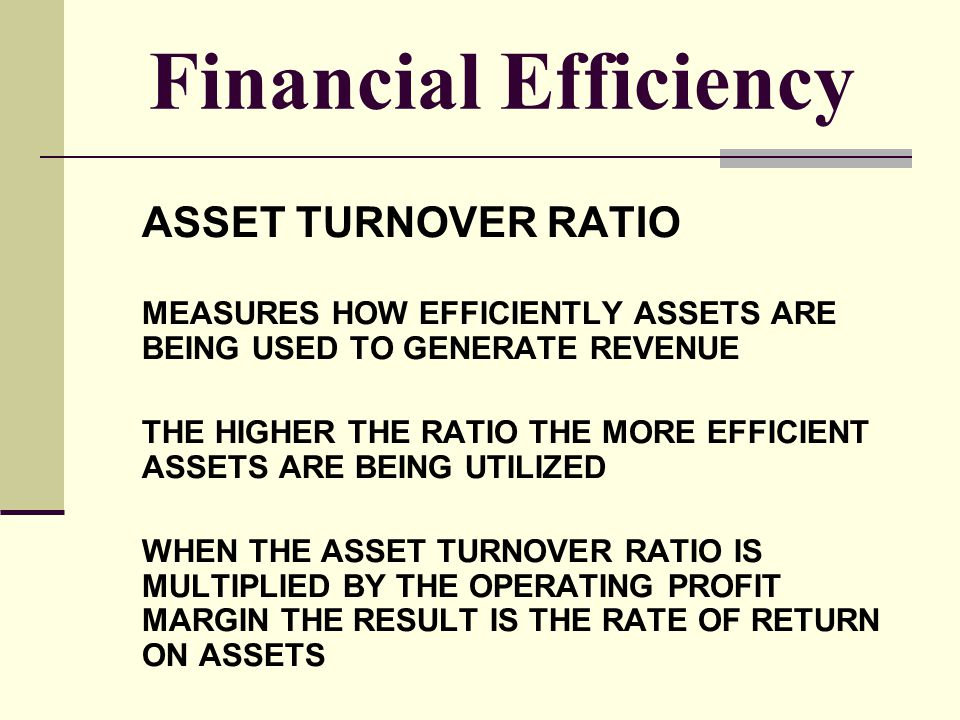 Financial Efficiency ASSET TURNOVER RATIO