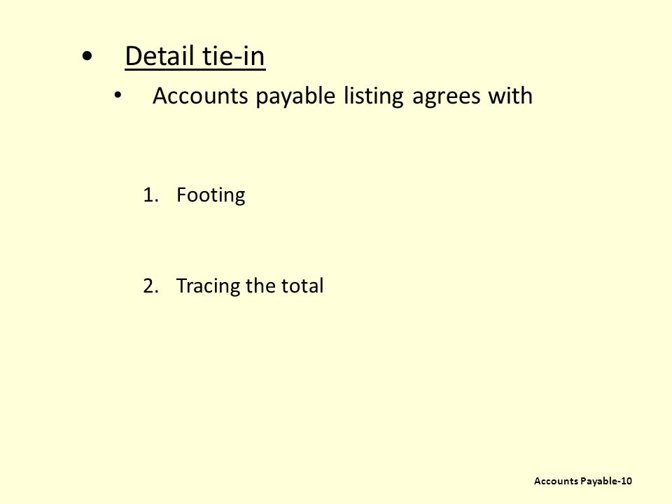 Detail tie-in Accounts payable listing agrees with Footing