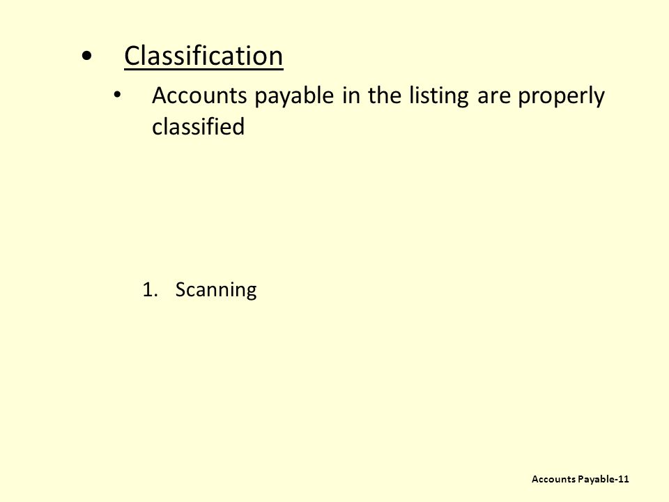 Classification Accounts payable in the listing are properly classified