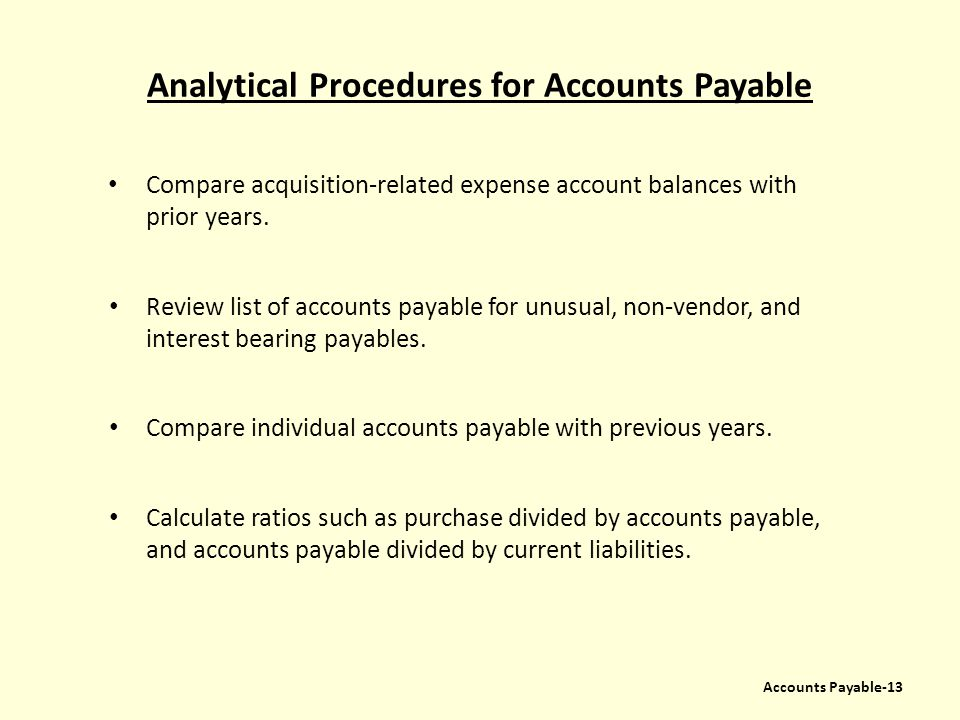 Analytical Procedures for Accounts Payable