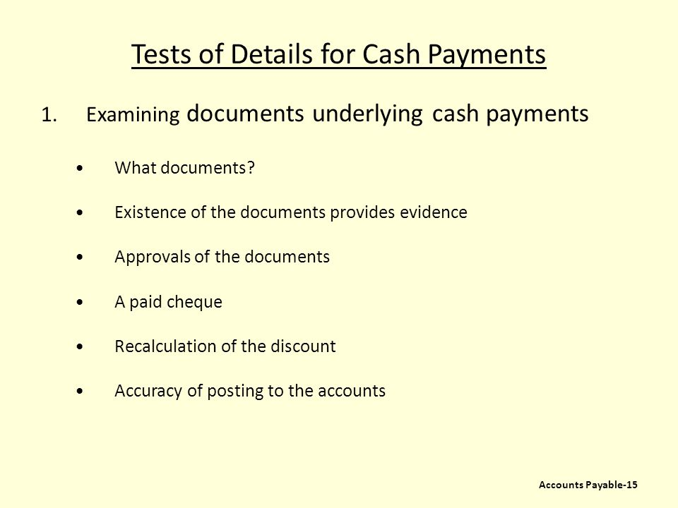 Tests of Details for Cash Payments