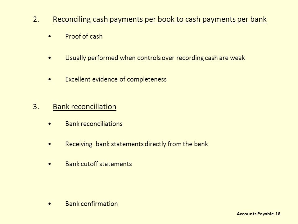 Reconciling cash payments per book to cash payments per bank