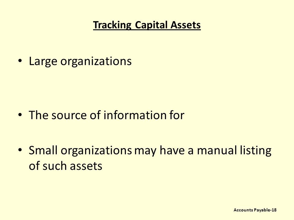 Tracking Capital Assets