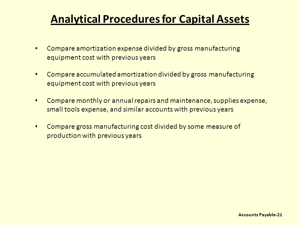 Analytical Procedures for Capital Assets