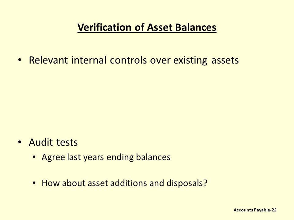 Verification of Asset Balances