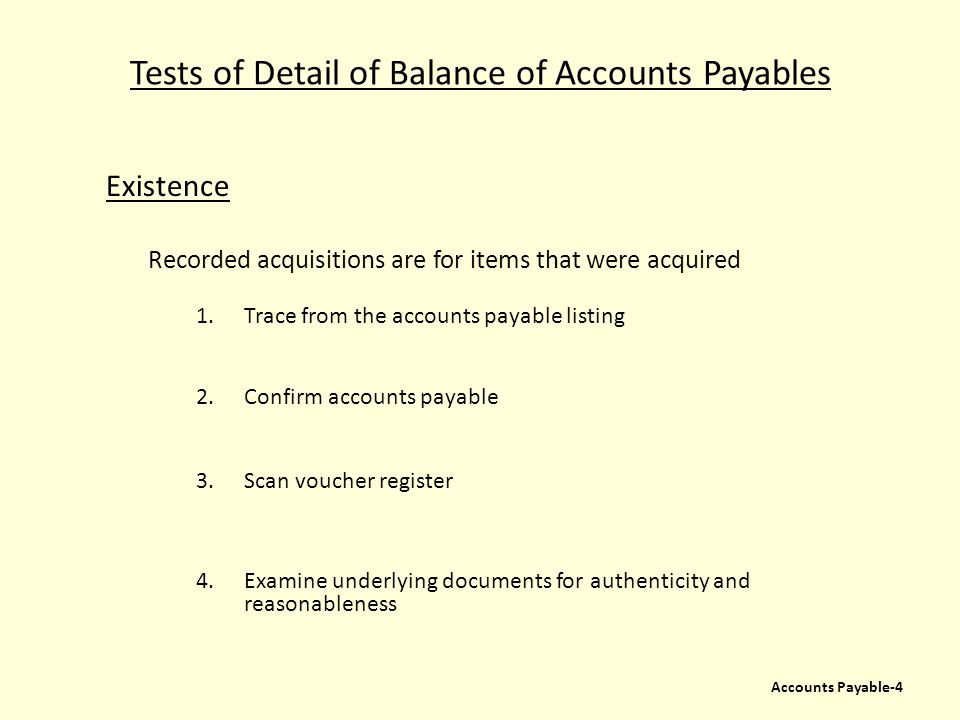 Tests of Detail of Balance of Accounts Payables