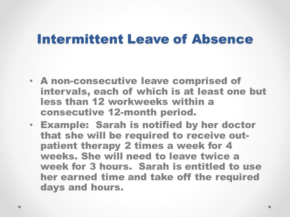Intermittent Leave of Absence