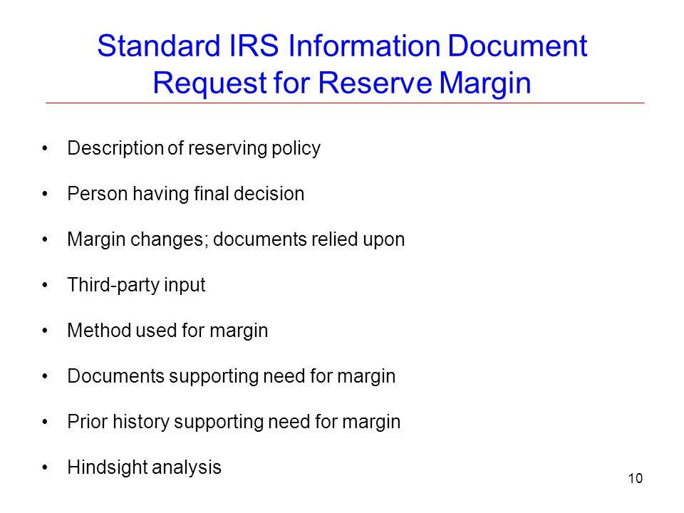 Standard IRS Information Document Request for Reserve Margin