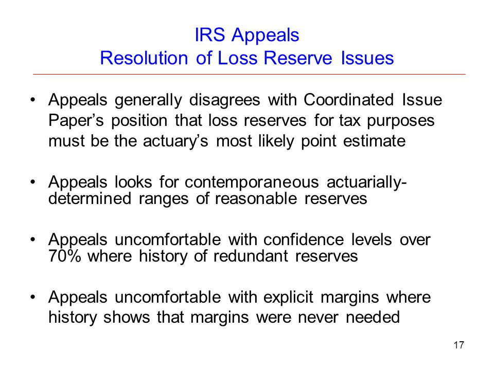IRS Appeals Resolution of Loss Reserve Issues