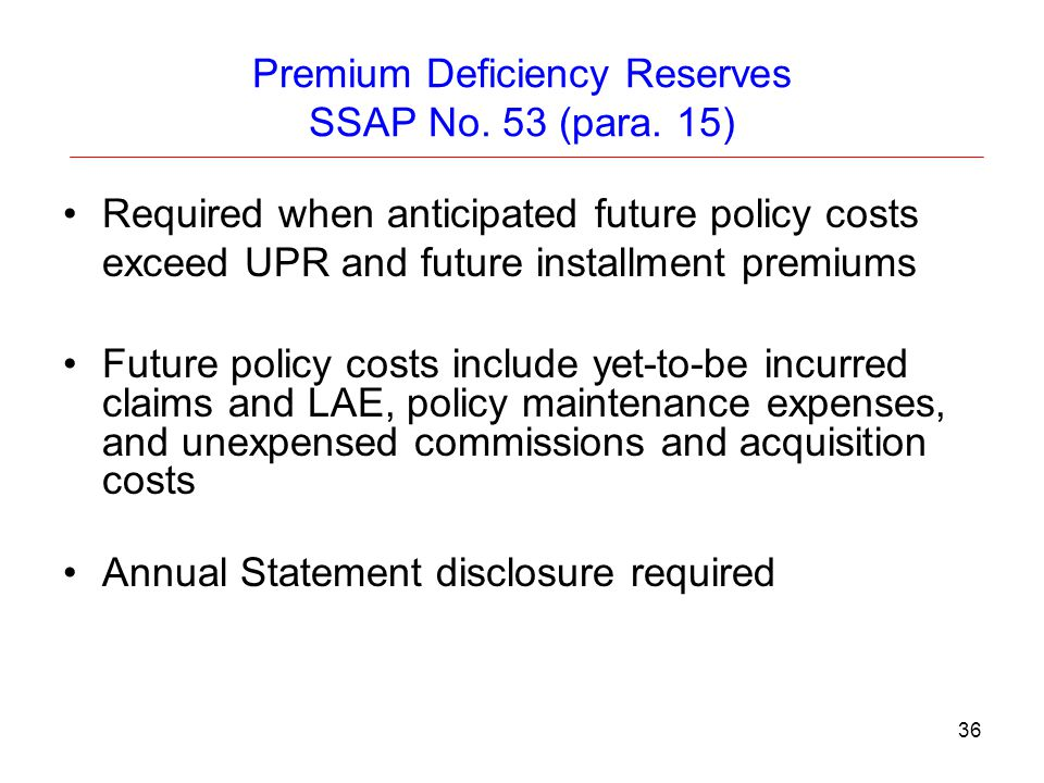 Premium Deficiency Reserves SSAP No. 53 (para. 15)