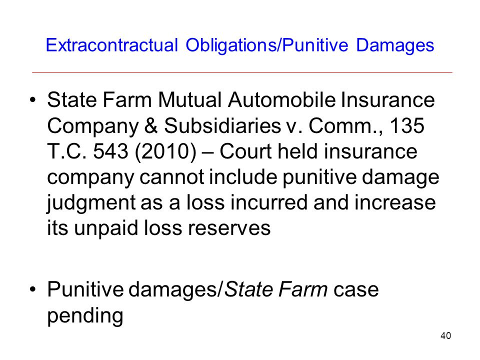 Extracontractual Obligations/Punitive Damages