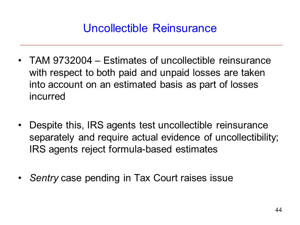Uncollectible Reinsurance