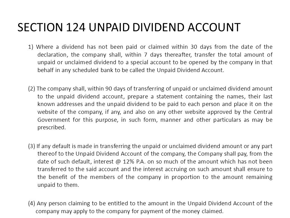 SECTION 124 UNPAID DIVIDEND ACCOUNT