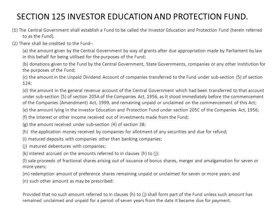 SECTION 125 INVESTOR EDUCATION AND PROTECTION FUND.