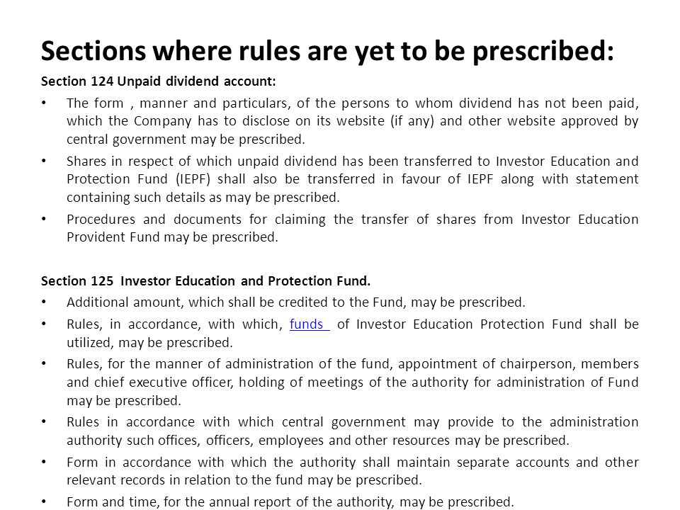 Sections where rules are yet to be prescribed: