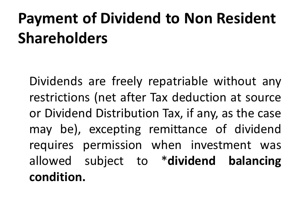 Payment of Dividend to Non Resident Shareholders