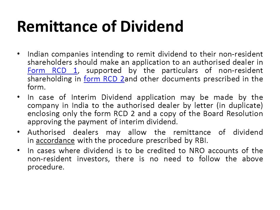 Remittance of Dividend