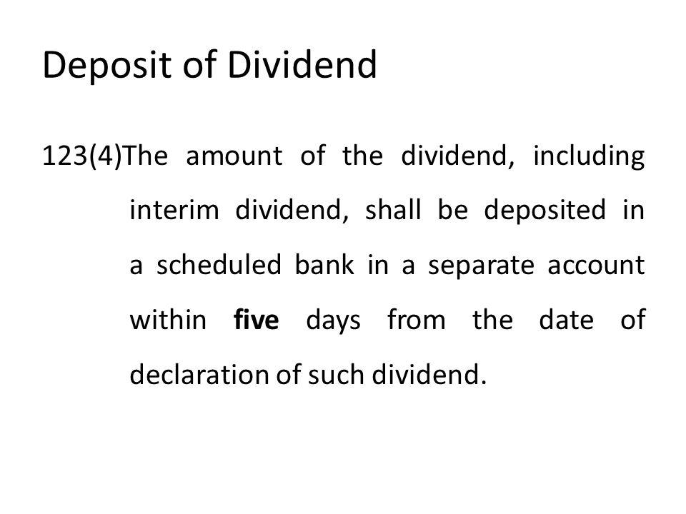 Deposit of Dividend