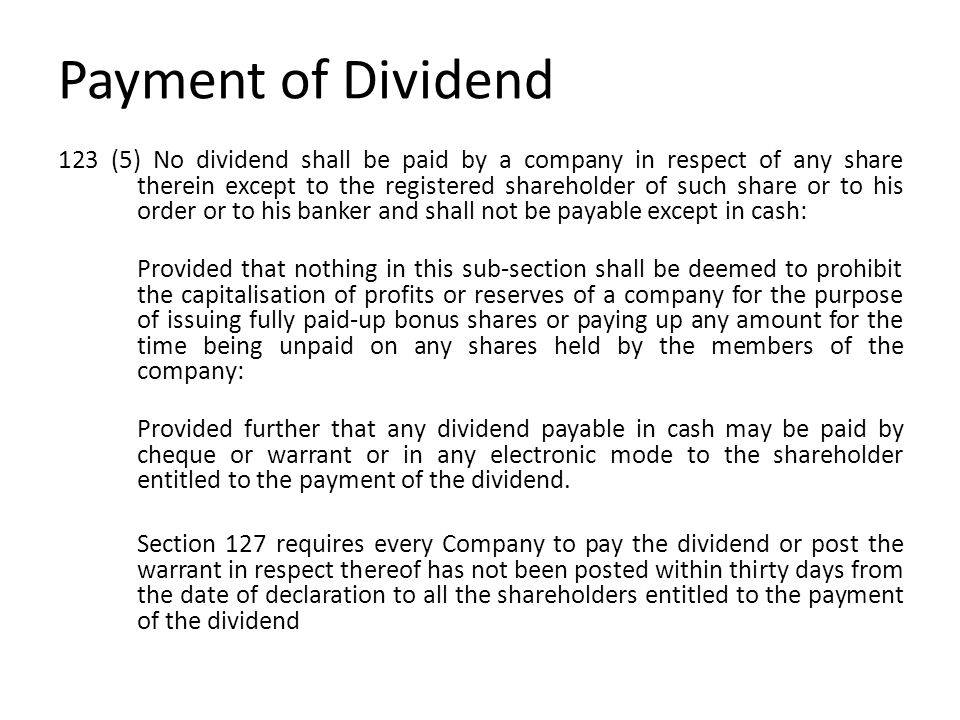 Payment of Dividend