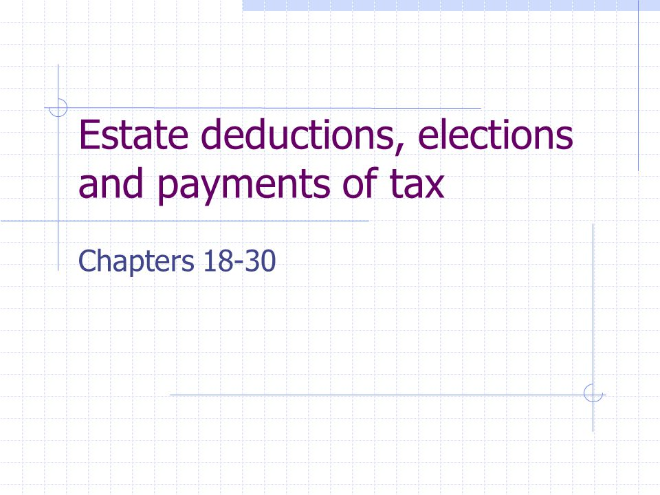 Estate deductions, elections and payments of tax