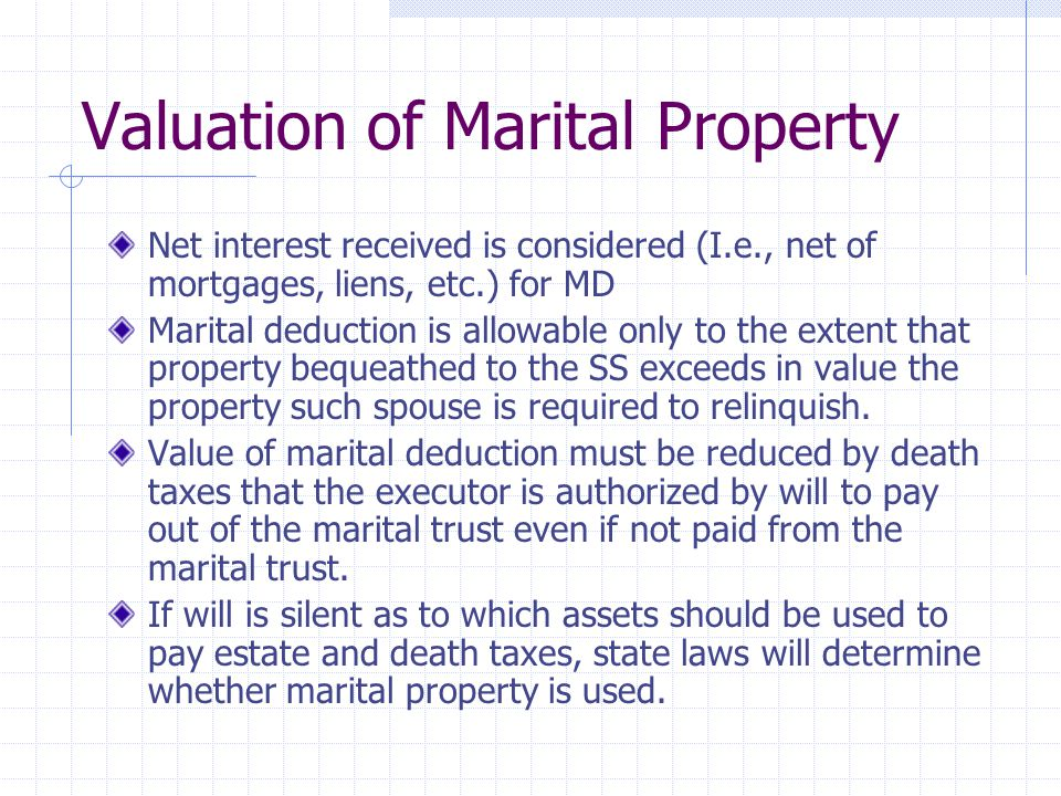 Valuation of Marital Property
