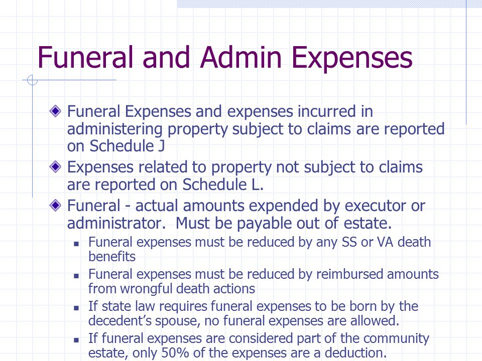 Funeral and Admin Expenses