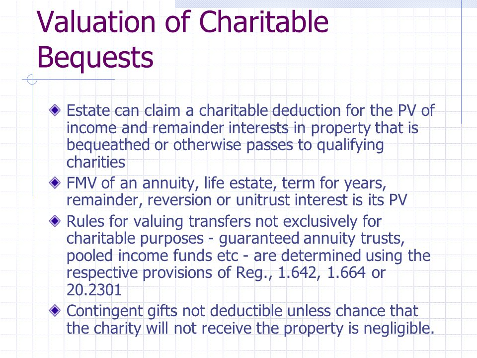 Valuation of Charitable Bequests